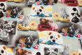 Bomuldsjersey med telefoner, katte og hamstere