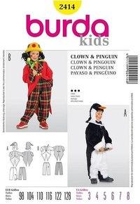 Pingvin og klovn for børn. Burda 2414.