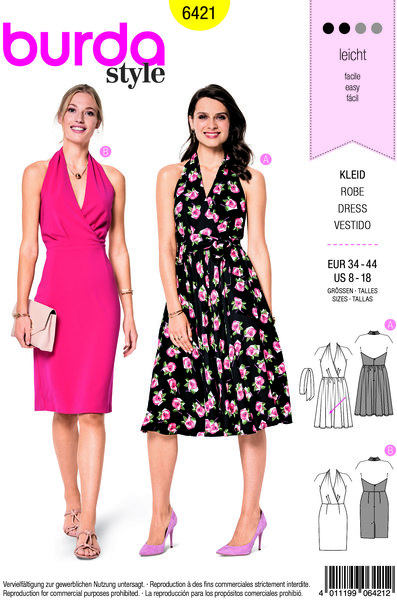 Flot kjole med v-udskæring og slå-om effekt