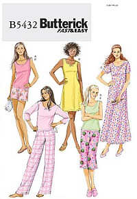 Butterick 5432. Top, kjole, shorts, bukser.