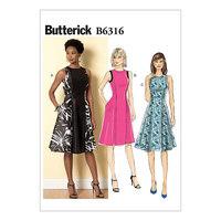 Ærmeløs pasform og klokkeformede kjoler. Butterick 6316.
