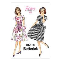 Binde-talje kjole. Butterick 6318.