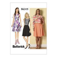 Cardigan og plisseret-nederdel kjole. Butterick 6319.