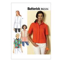 Knap-ned-krave bluser/skjorter. Butterick 6324.