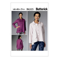 Plisseret-krave asymmetrisk-søm bluser/skjorter. Butterick 6325.