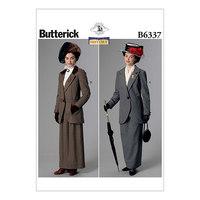 Hak-krave jakker og gulv-længde nederdele. Butterick 6337.