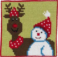 Rensdyr og snemand, børnestramaj. Permin 9241.