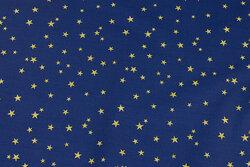 Blå bomuld med ca. 1 cm guldstjerner