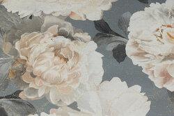 Elegant Deko-stof i grå med store off white roser og diskret guldglimmer