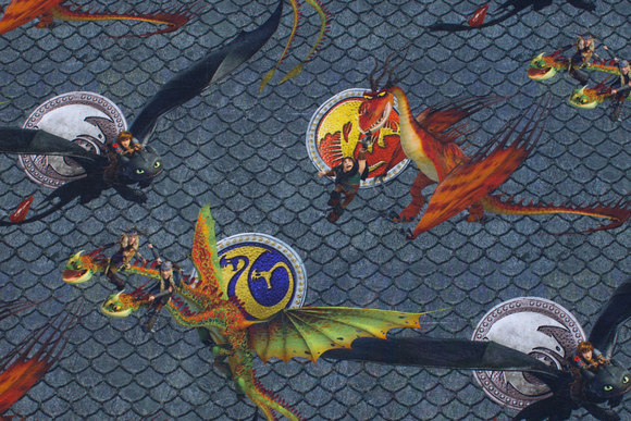 Flot grågrøn bomuldsjersey med drager