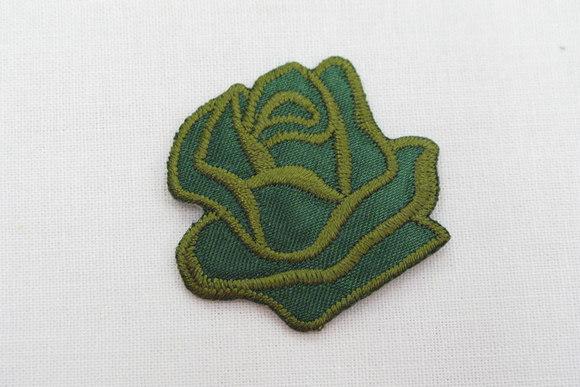 Grøn rose strygemærke ø 3,5 cm
