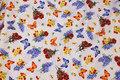 Hvid patchwork-bomuld med sommerfugle