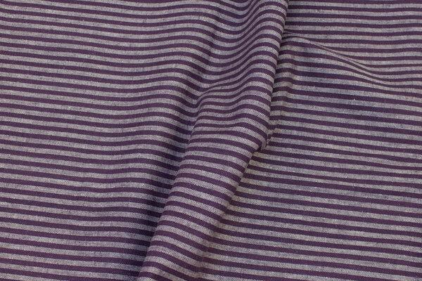 Mellemsvær, støvlilla hør og bomuld med ca. 5 mm striber på langs