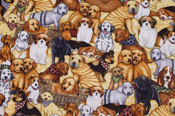 Patchwork-bomuld med hunde