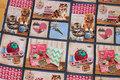 Patchwork-bomuld med søde katte