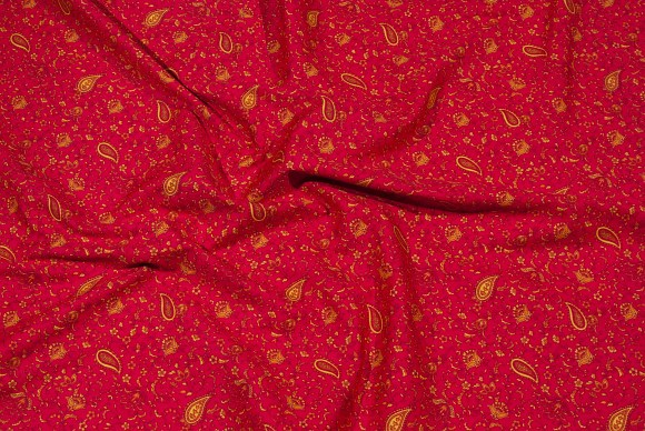 Rød bomuld med gult paisley-mønseter