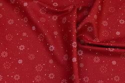 Rød bomuld med lyse snefnug