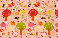 Rosa bomuldsflonel med træer og blomster