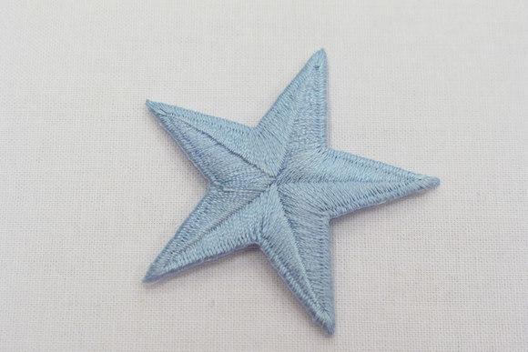 Sartblå stjerne, strygemærke, Ø 5 cm