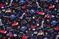 Sort patchwork-bomuld med skolemotiver