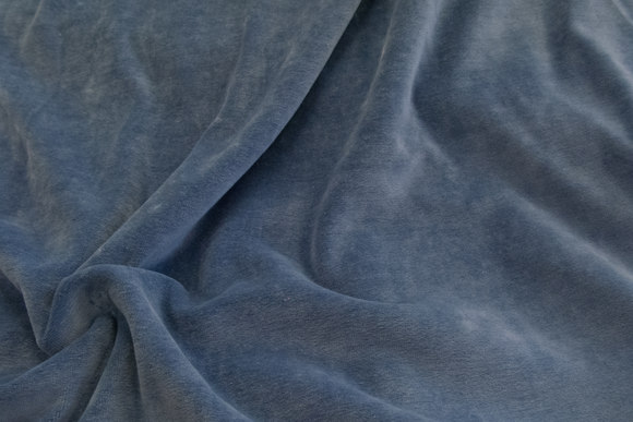 Stræk velour - dueblå