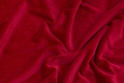Stræk-velour i dyb rød