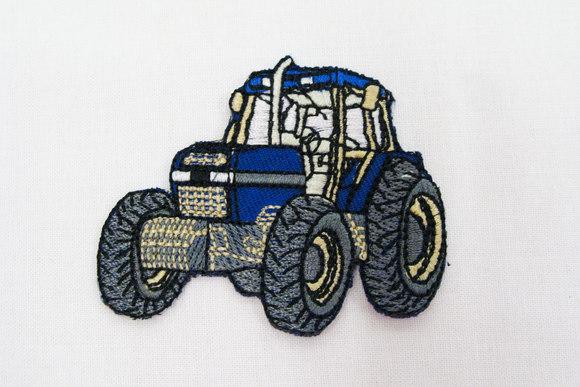 Strygemærke med traktor, blå