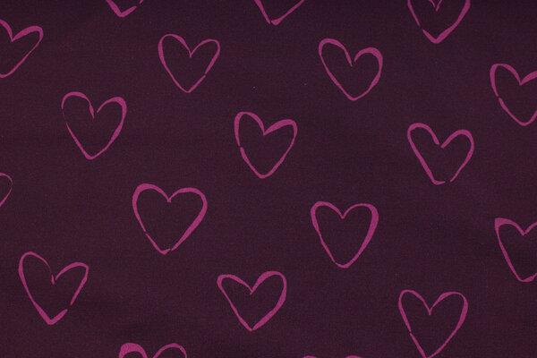 Auberginefarvet, ruet isoli med ca. 4 cm pink hjerter