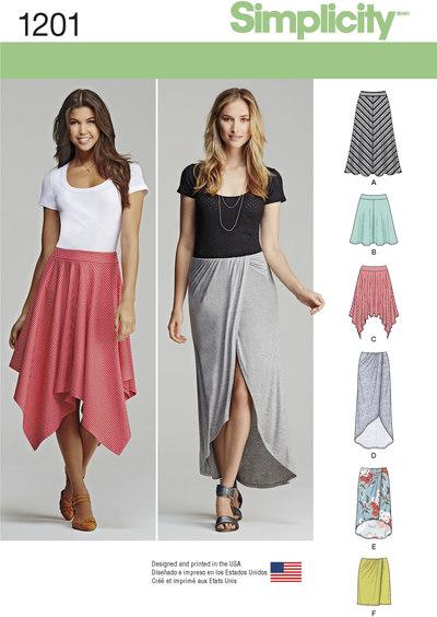 Pull-on nederdele med længde variationer