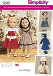 Simplicity 1245. Vintage dukketøj, kjoler, 45 cm dukke.