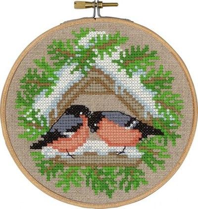 Fugle på foderbræt - vinterbroderi
