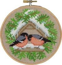 Fugle på foderbræt - vinterbroderi. Permin 13-6240.