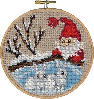 Nisse og kaniner, julevægbroderi