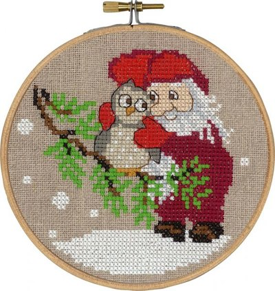 Julemand og ugle, julevægbroderi