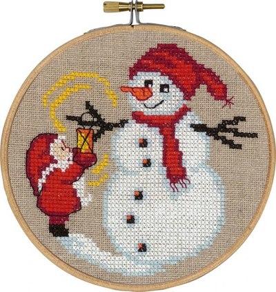 Julemanden og snemand, julevægbroderi