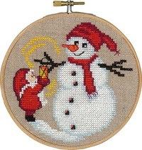 Julemanden og snemand, julevægbroderi. Permin 13-6244.