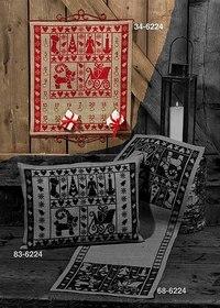 Julepakkekalender med rødt broderi. Permin 34-6224.