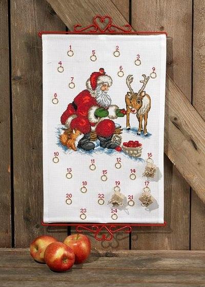 Julepakkekalender med Julemand og rensdyr