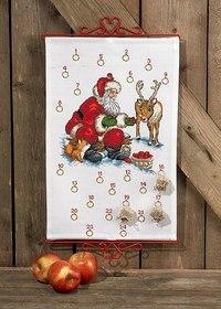 Julepakkekalender med Julemand og rensdyr. Permin 34-6225.