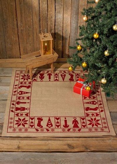 Juletræstæppe, firkantet, stilfuldt broderi
