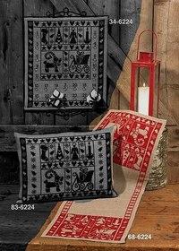 Juleløber med flot, rødt, stilfuldt broderi. Permin 68-6224.