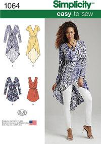 Tunika og kjoler med slå-om effekt. Simplicity 1064.