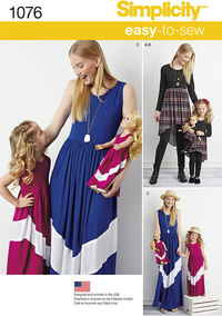 Matchende kjole og dukketøj. Simplicity 1076.