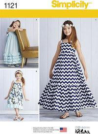 Pullover kjoler til piger. Simplicity 1121.