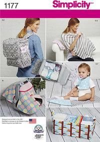 Baby rygsæk, pusletaske, babydække. Simplicity 1177.