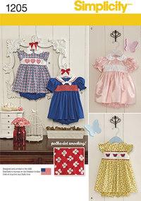 Kjoler og undertøj til småbørn. Simplicity 1205.