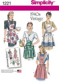 Vintage 1940 forklæder. Simplicity 1221.