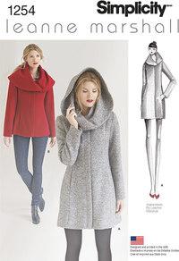 Foeret frakke med hætte eller foldekrave - Leanne Marshall. Simplicity 1254.