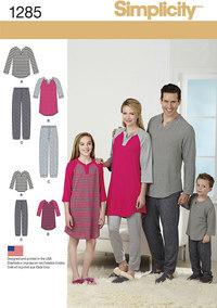 Familie nattøj, afslapningstøj. Simplicity 1285.