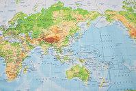 Acryl-coated textildug med verdenskort